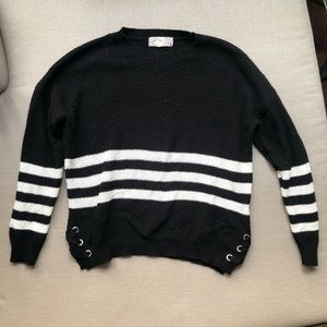 Black sweater with white stripes cute side ribbon
